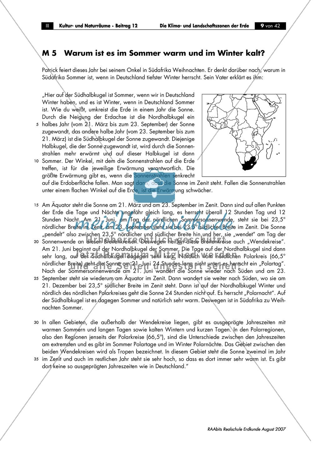 Klima- und Landschaftszonen der Erde: Jahreszeiten auf der Nord- und Südhalbkugel Preview 4