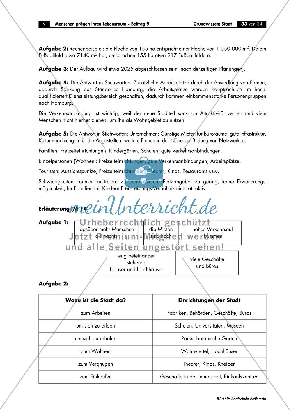 Grundwissen Stadt: Merkmale + Funktionen + Stadtviertel - Lernkontrolle Preview 2