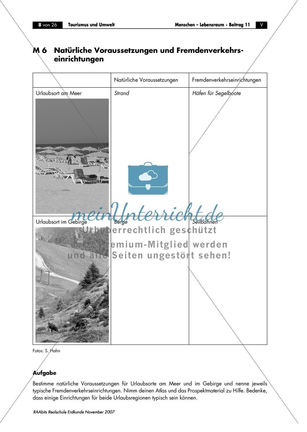 Vorstellen der natürlichen Voraussetzungen und Fremdenverkehrseinrichtungen in typischen Urlaubsregionen Preview 0