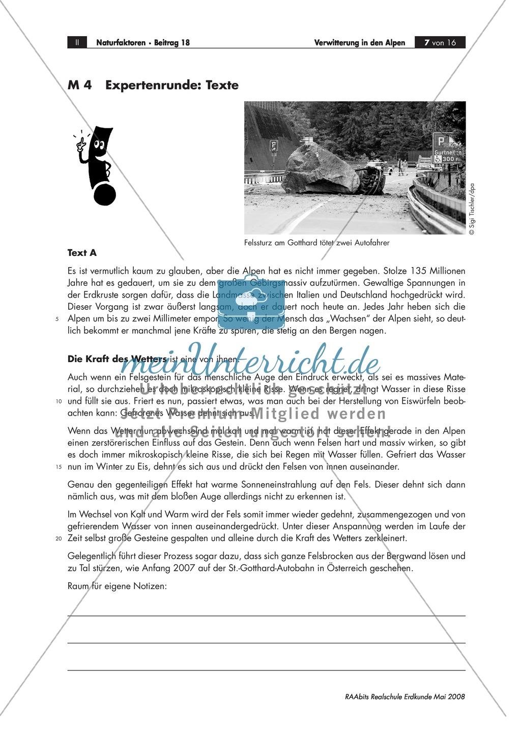 Eine Expertenrunde über Formen der Verwitterung abhalten - Beispiel Alpen Preview 1