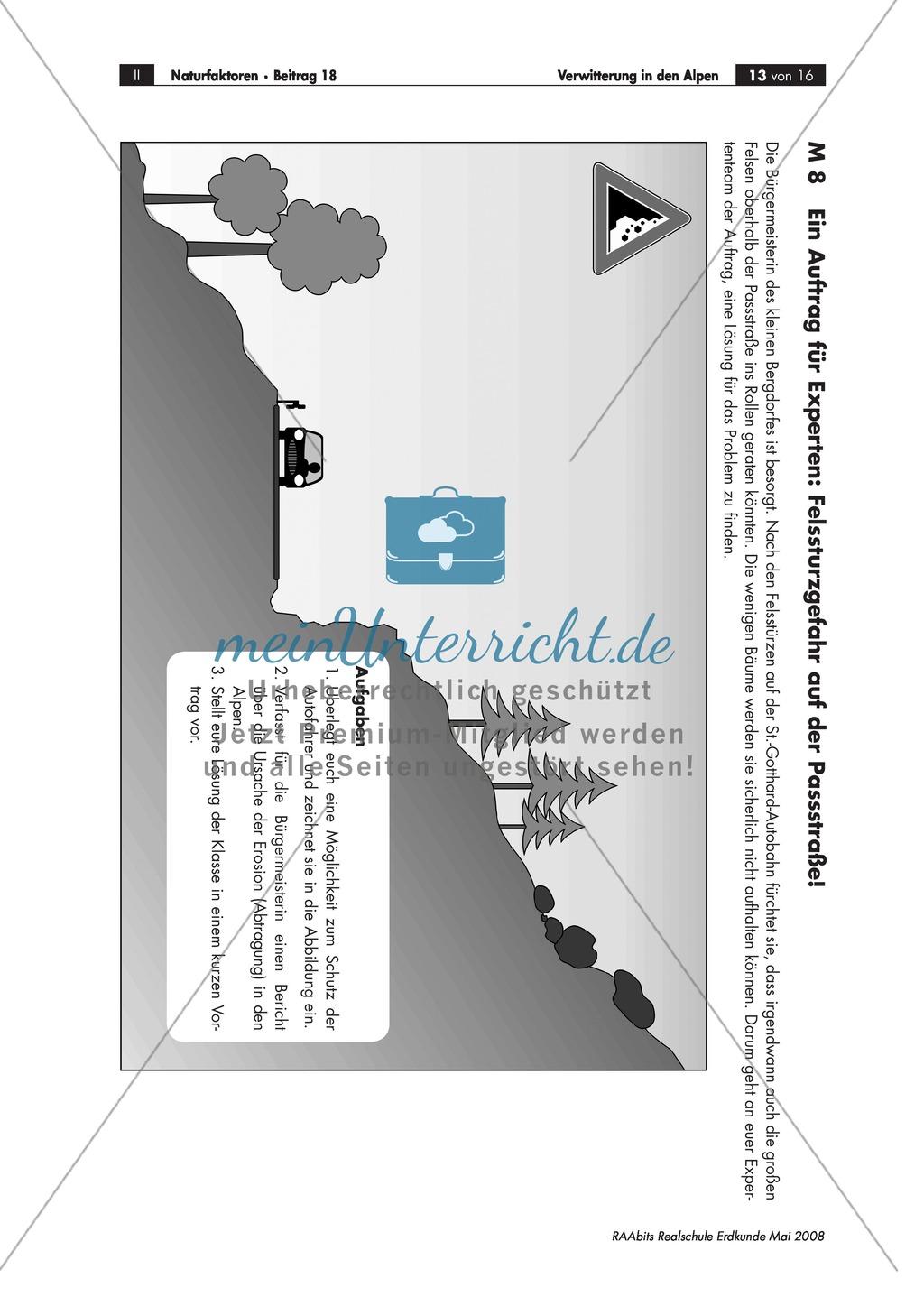 Verwitterung in den Alpen: Ursachen für einen Felssturz + Schutzmaßnahmen für eine Straße diskutieren Preview 0