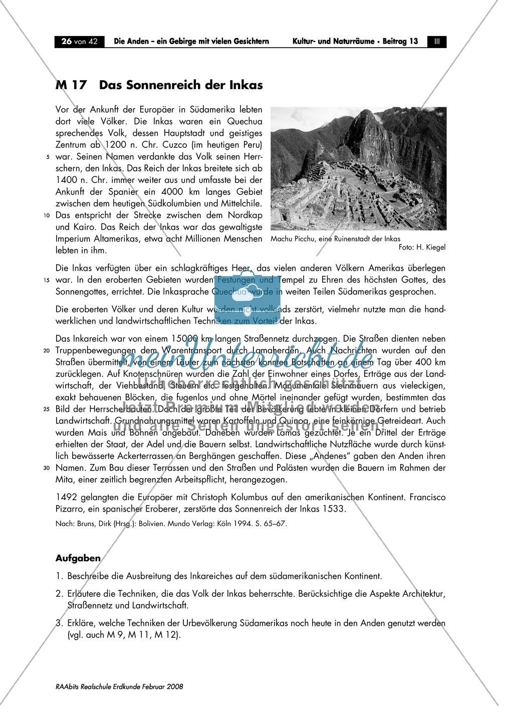 Die Anden kennen lernen -  Aspekte aus Sozial- und Kulturgeographie: Inkas + Sprachen + Lebensbedingungen + Sozialstrukturen Preview 0