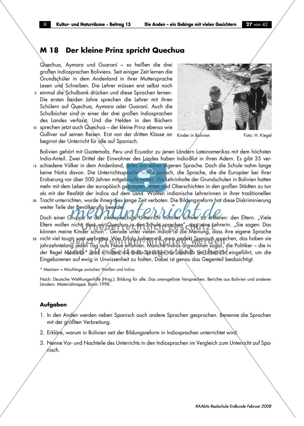 Die Anden kennen lernen -  Aspekte aus Sozial- und Kulturgeographie: Inkas + Sprachen + Lebensbedingungen + Sozialstrukturen Preview 1