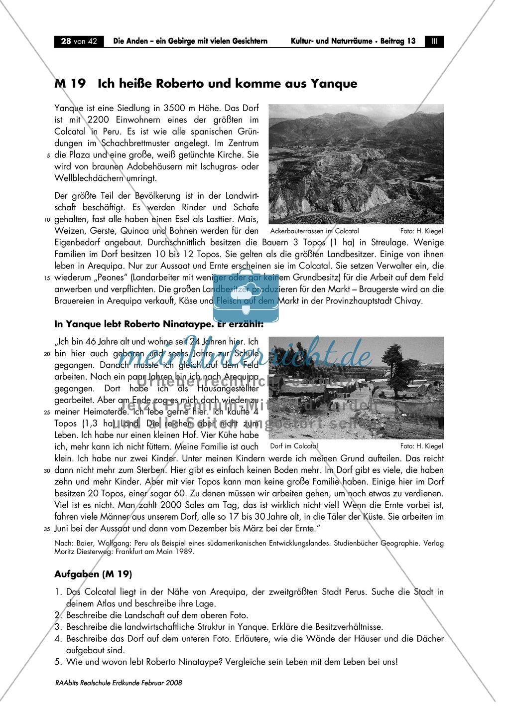 Die Anden kennen lernen -  Aspekte aus Sozial- und Kulturgeographie: Inkas + Sprachen + Lebensbedingungen + Sozialstrukturen Preview 2