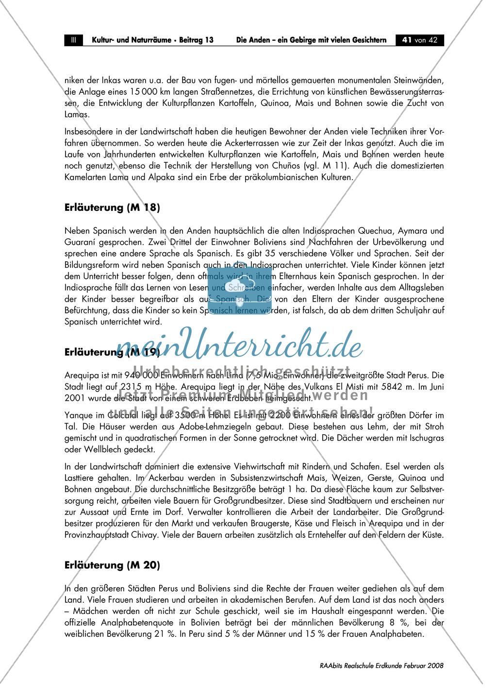 Die Anden kennen lernen -  Aspekte aus Sozial- und Kulturgeographie: Inkas + Sprachen + Lebensbedingungen + Sozialstrukturen Preview 5