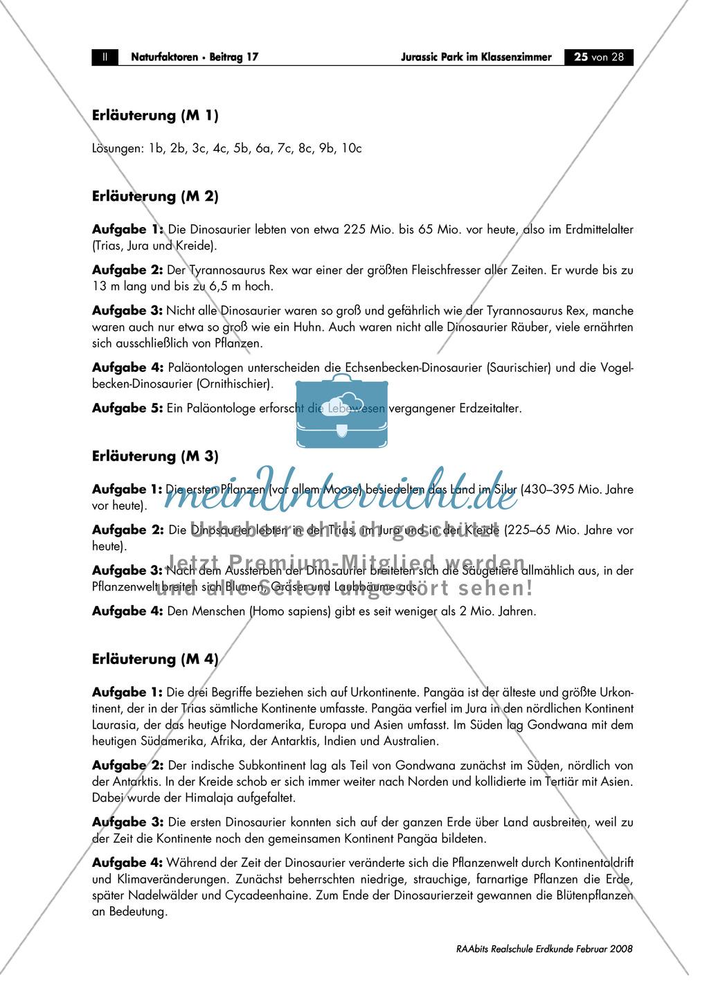 Informationen und Aufgaben zu Dinosauriern Preview 1