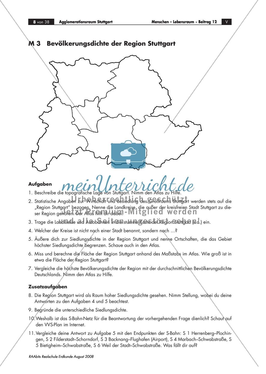 Kartenarbeit: Bevölkerungsdichte im Raum Stuttgart in eine stumme Karte einzeichnen Preview 0