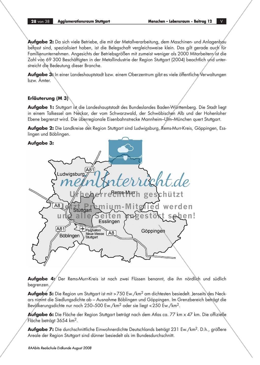 Kartenarbeit: Bevölkerungsdichte im Raum Stuttgart in eine stumme Karte einzeichnen Preview 1