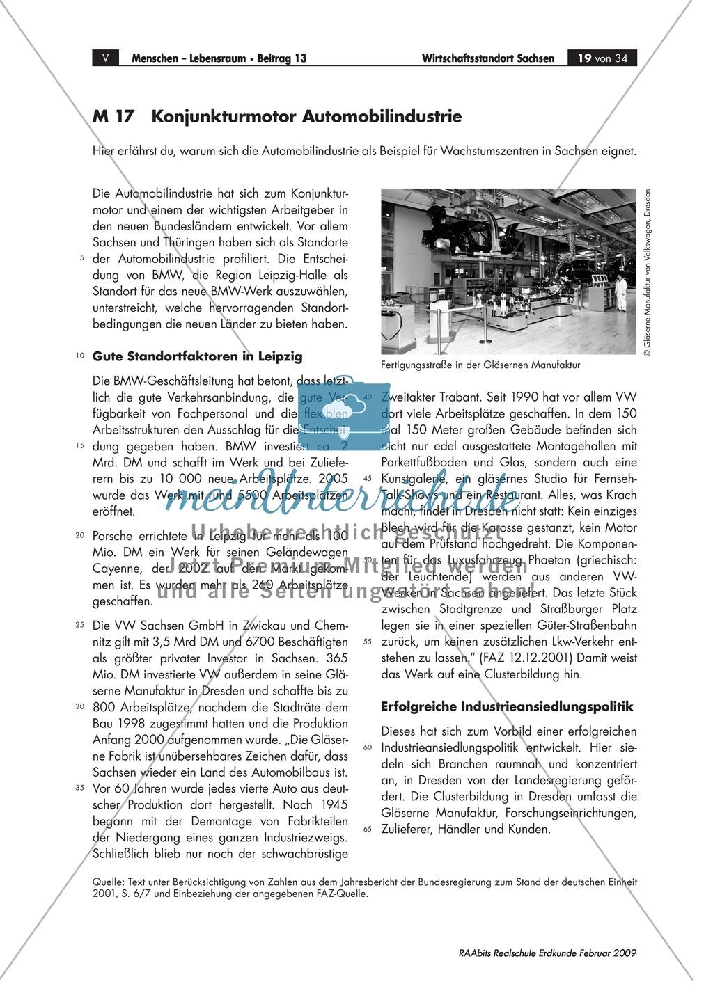 Wirtschaftlicher Aufschwung in den neuen Bundesländern: Cluster am Beispiel der Industrie in Sachsen kennen lernen Preview 0