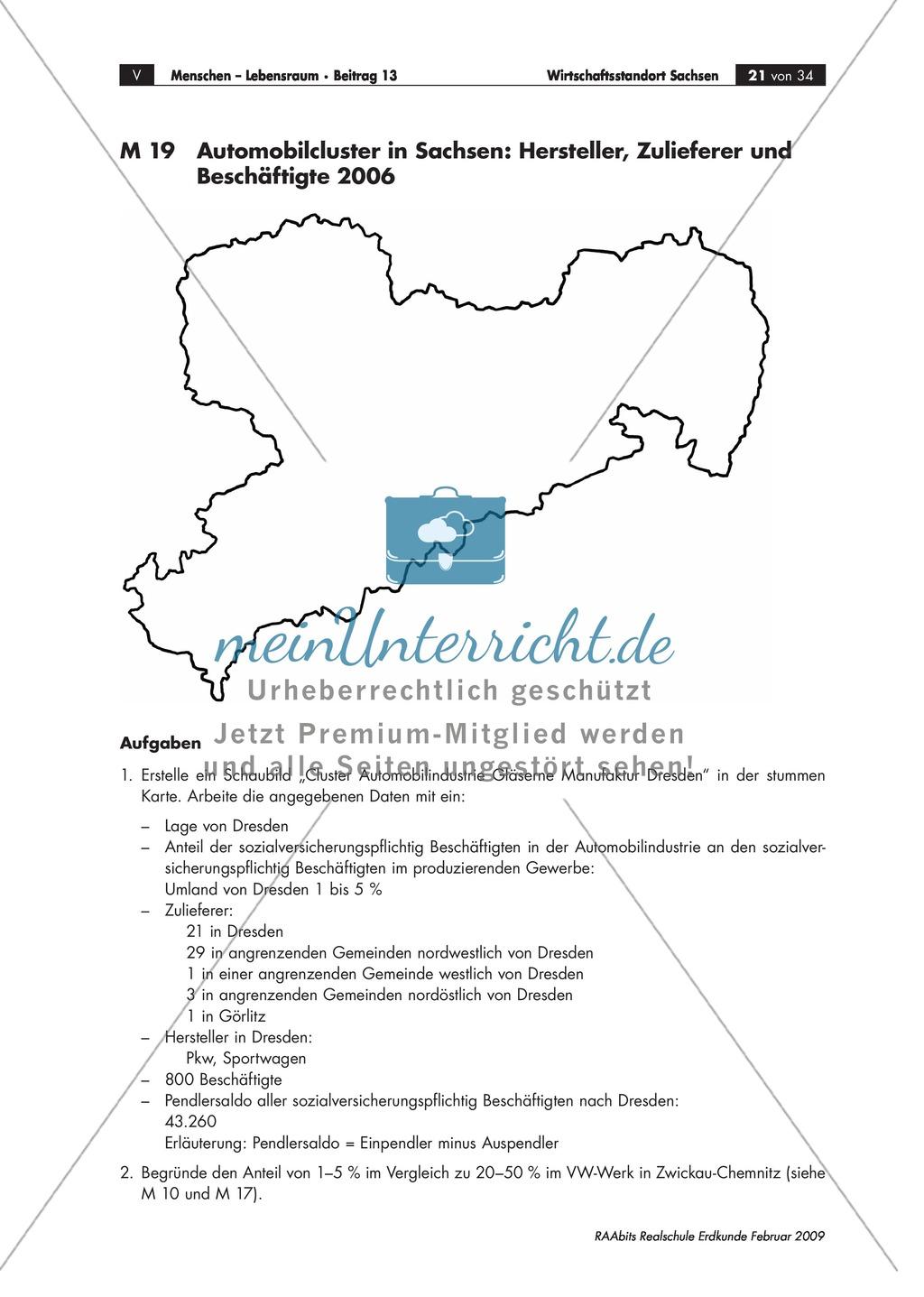 Wirtschaftlicher Aufschwung in den neuen Bundesländern: Cluster am Beispiel der Industrie in Sachsen kennen lernen Preview 2