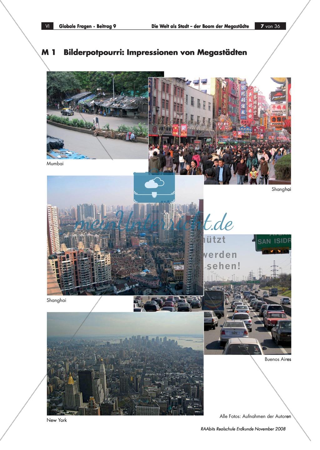 Topographie und Definition von Megacities mit Hilfe des Atlasses erarbeiten Preview 0
