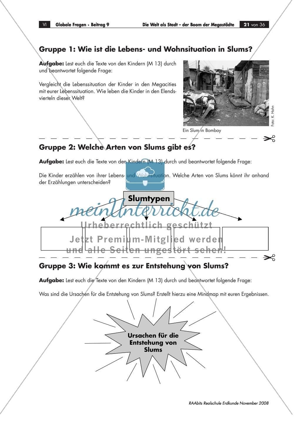 Slums in Megacities: Definition erarbeiten + Lebensbedingungen in Slums erörtern Preview 2
