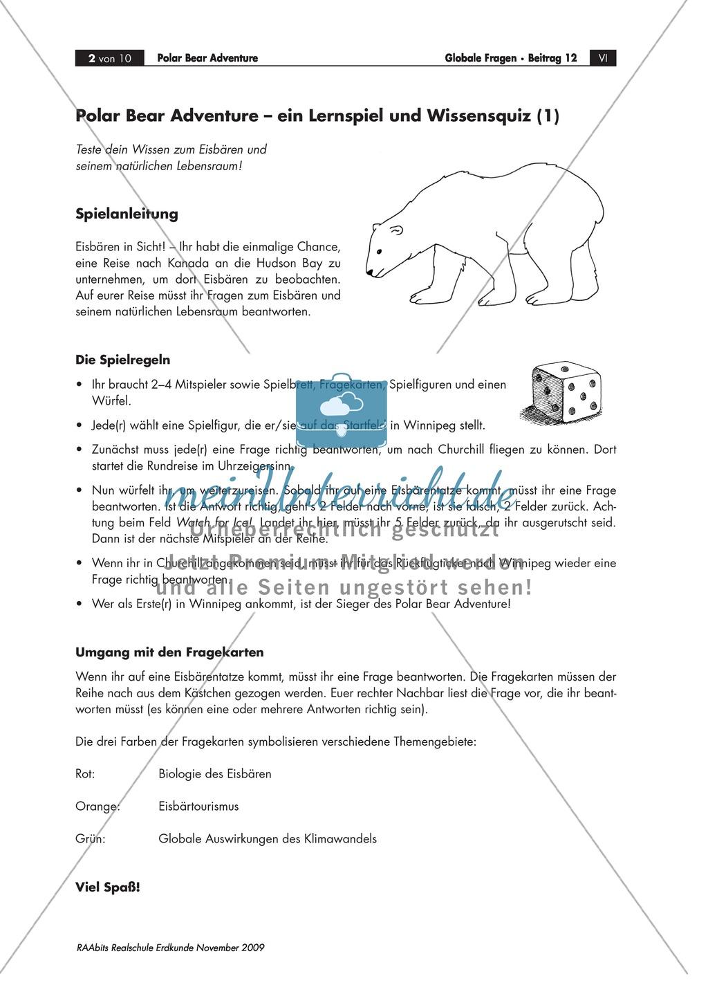 Ein Lernspiel und Wissensquiz zum Polarbären: Biologie + Eisbärtourismus + Ökosystem + Klimawandel Preview 0