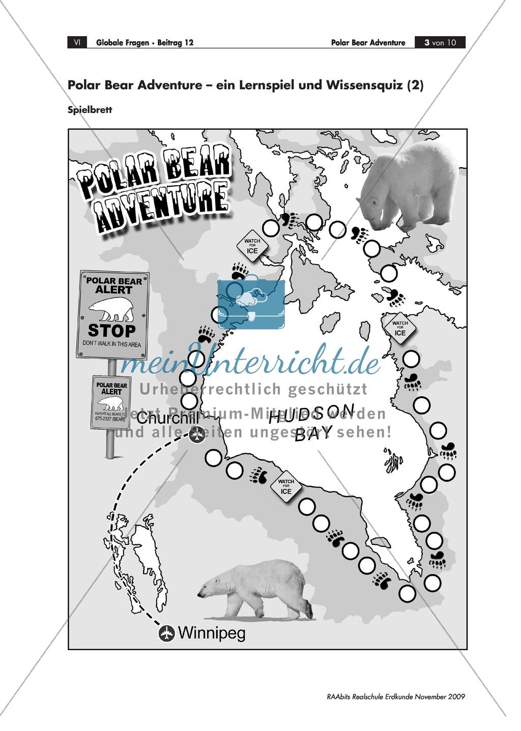 Ein Lernspiel und Wissensquiz zum Polarbären: Biologie + Eisbärtourismus + Ökosystem + Klimawandel Preview 1
