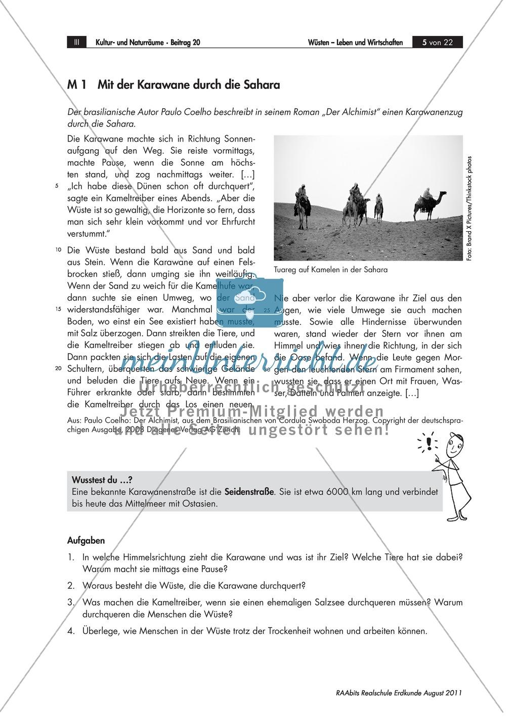 Lebens- und Wirtschaftsweisen in der Wüste: Karawanen + Nomaden Preview 0