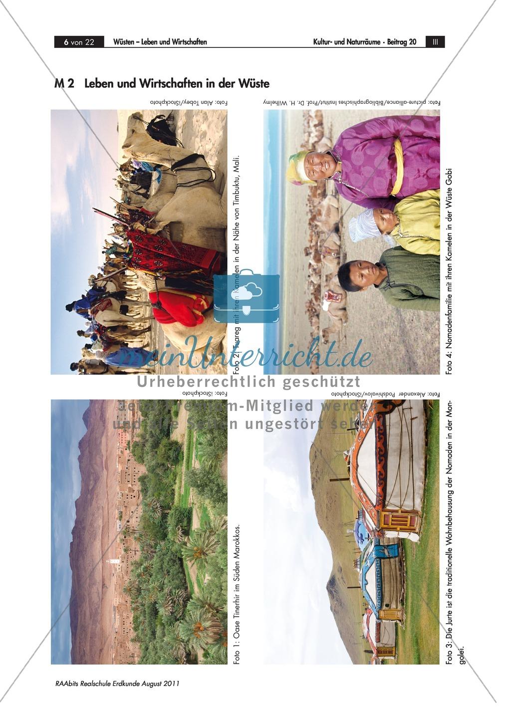 Lebens- und Wirtschaftsweisen in der Wüste: Karawanen + Nomaden Preview 1