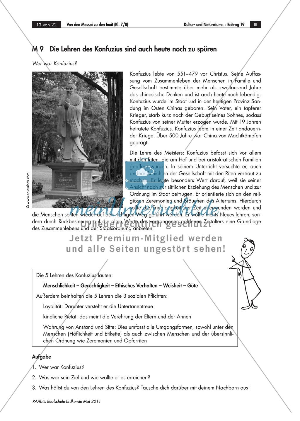 Interkulturelle Kompetenzen entwickeln: Kulturerdteile kennenlernen - Buddhistische Mönche und Konfuzius Preview 1