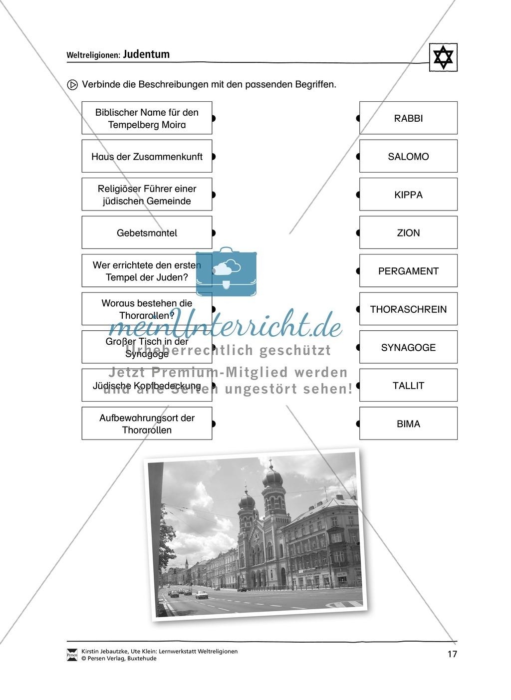 Unterrichtsmaterial zum Judentum - mit Infomaterial zu Gottheit, Schrift, Synagogen, Feiertagen uvm. Preview 9