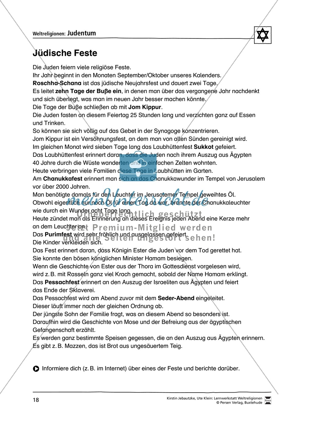 Unterrichtsmaterial zum Judentum - mit Infomaterial zu Gottheit, Schrift, Synagogen, Feiertagen uvm. Preview 10