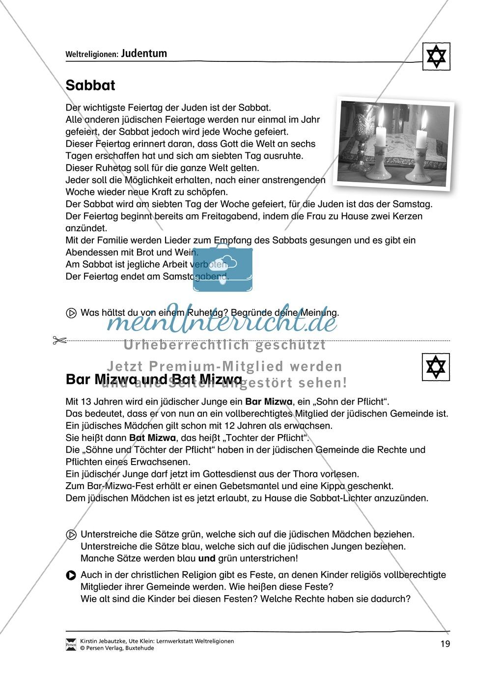 Unterrichtsmaterial zum Judentum - mit Infomaterial zu Gottheit, Schrift, Synagogen, Feiertagen uvm. Preview 11