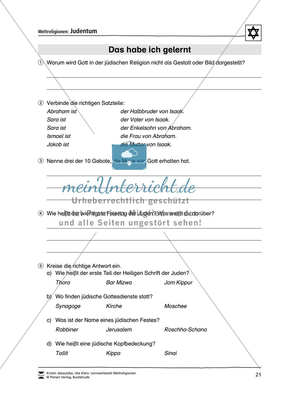 Unterrichtsmaterial zum Judentum - mit Infomaterial zu Gottheit, Schrift, Synagogen, Feiertagen uvm. Preview 13