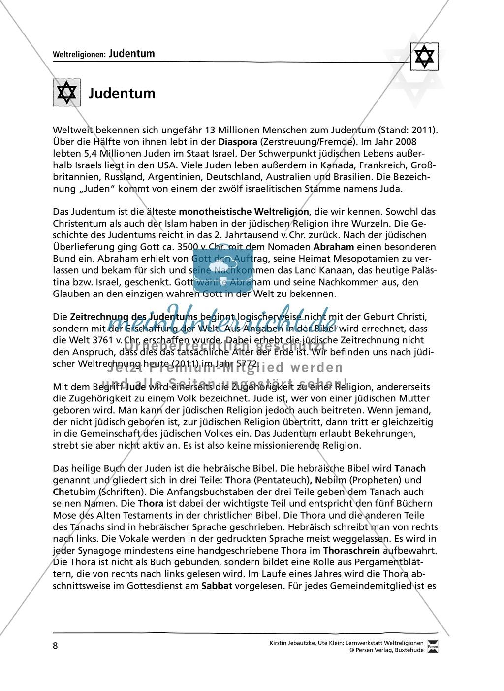 Unterrichtsmaterial zum Judentum - mit Infomaterial zu Gottheit, Schrift, Synagogen, Feiertagen uvm. Preview 0