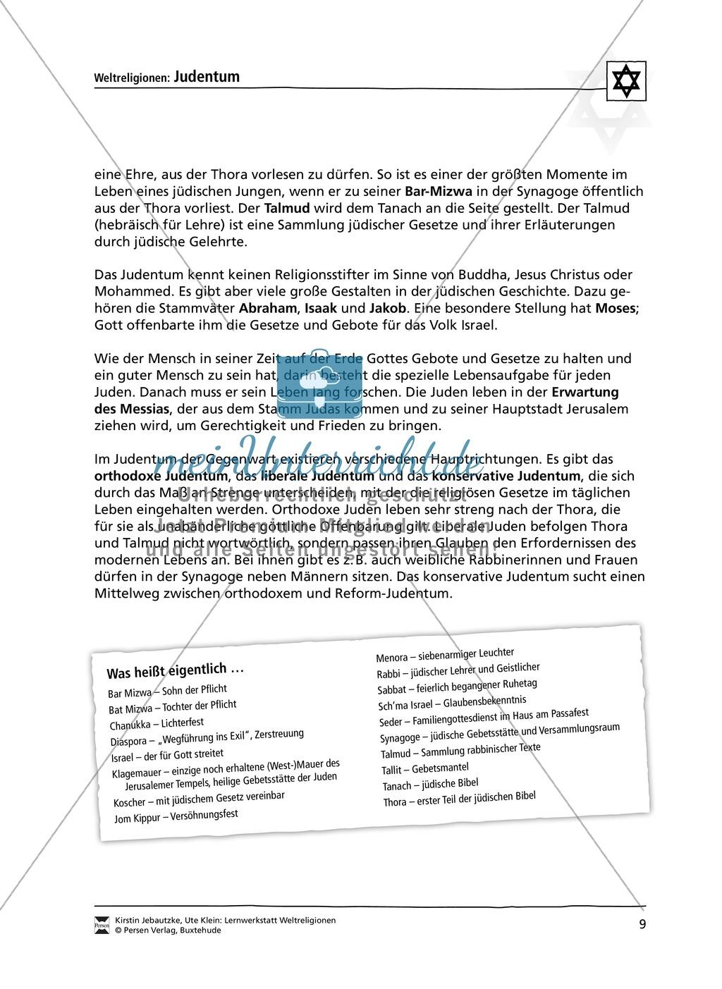 Unterrichtsmaterial zum Judentum - mit Infomaterial zu Gottheit, Schrift, Synagogen, Feiertagen uvm. Preview 1