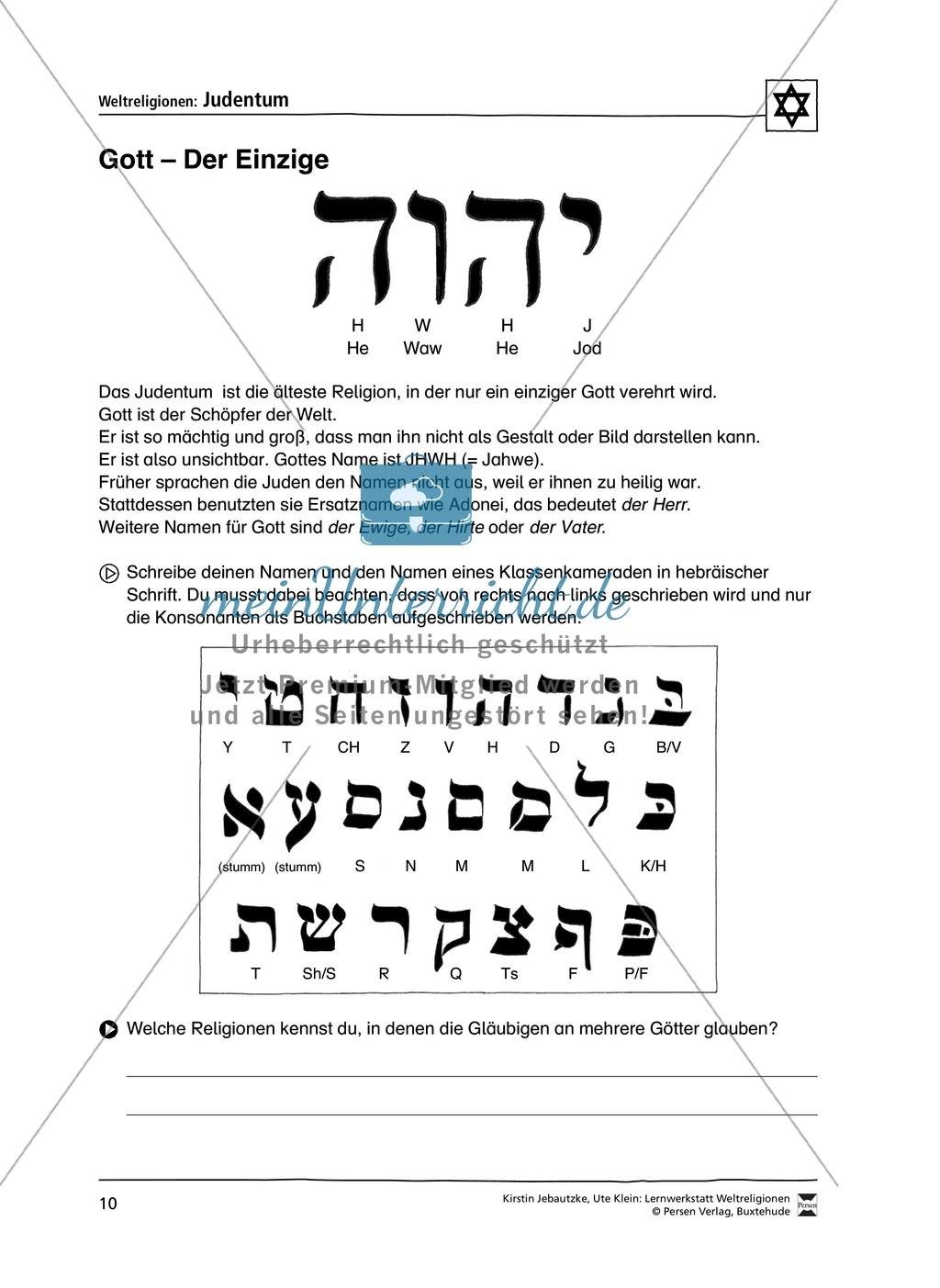 Unterrichtsmaterial zum Judentum - mit Infomaterial zu Gottheit, Schrift, Synagogen, Feiertagen uvm. Preview 2