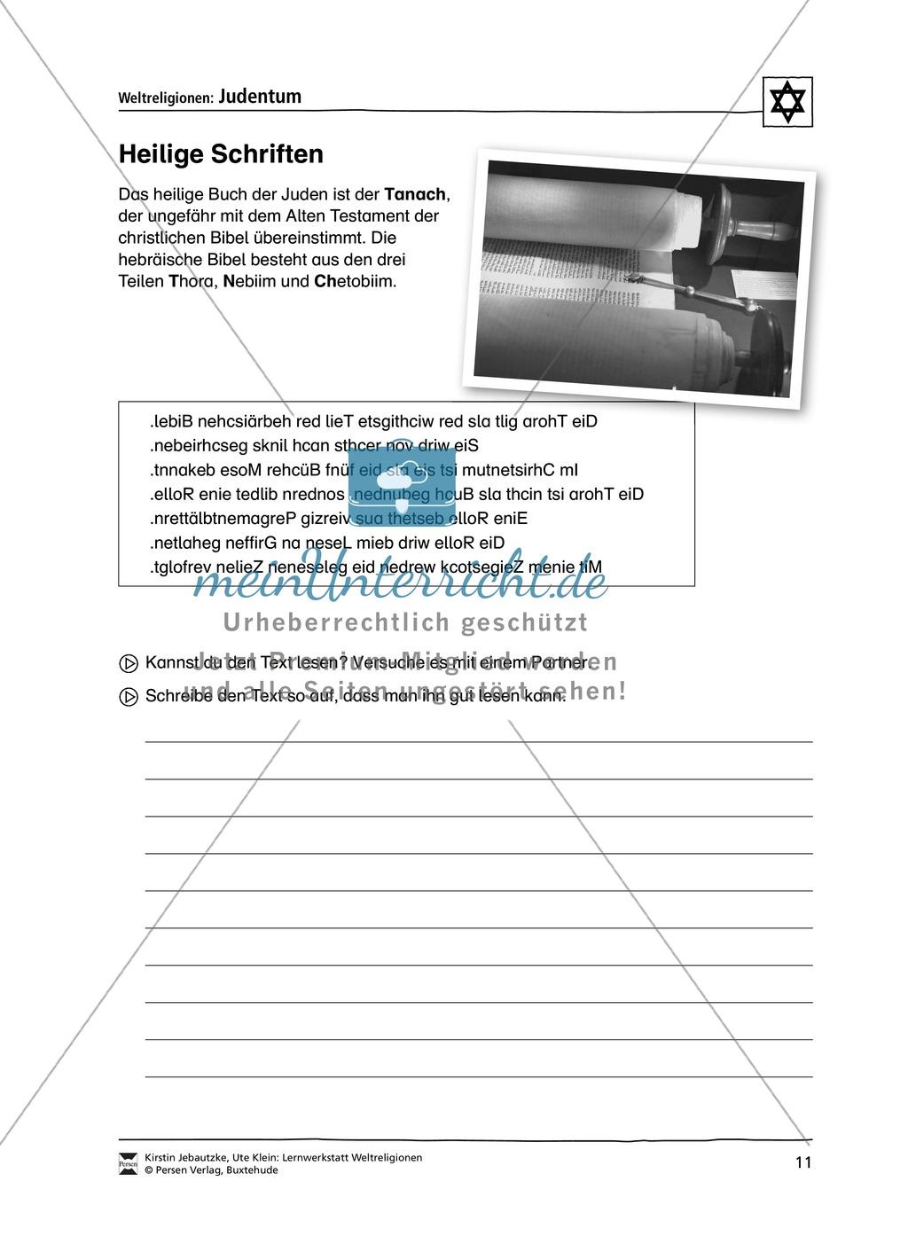 Unterrichtsmaterial zum Judentum - mit Infomaterial zu Gottheit, Schrift, Synagogen, Feiertagen uvm. Preview 3