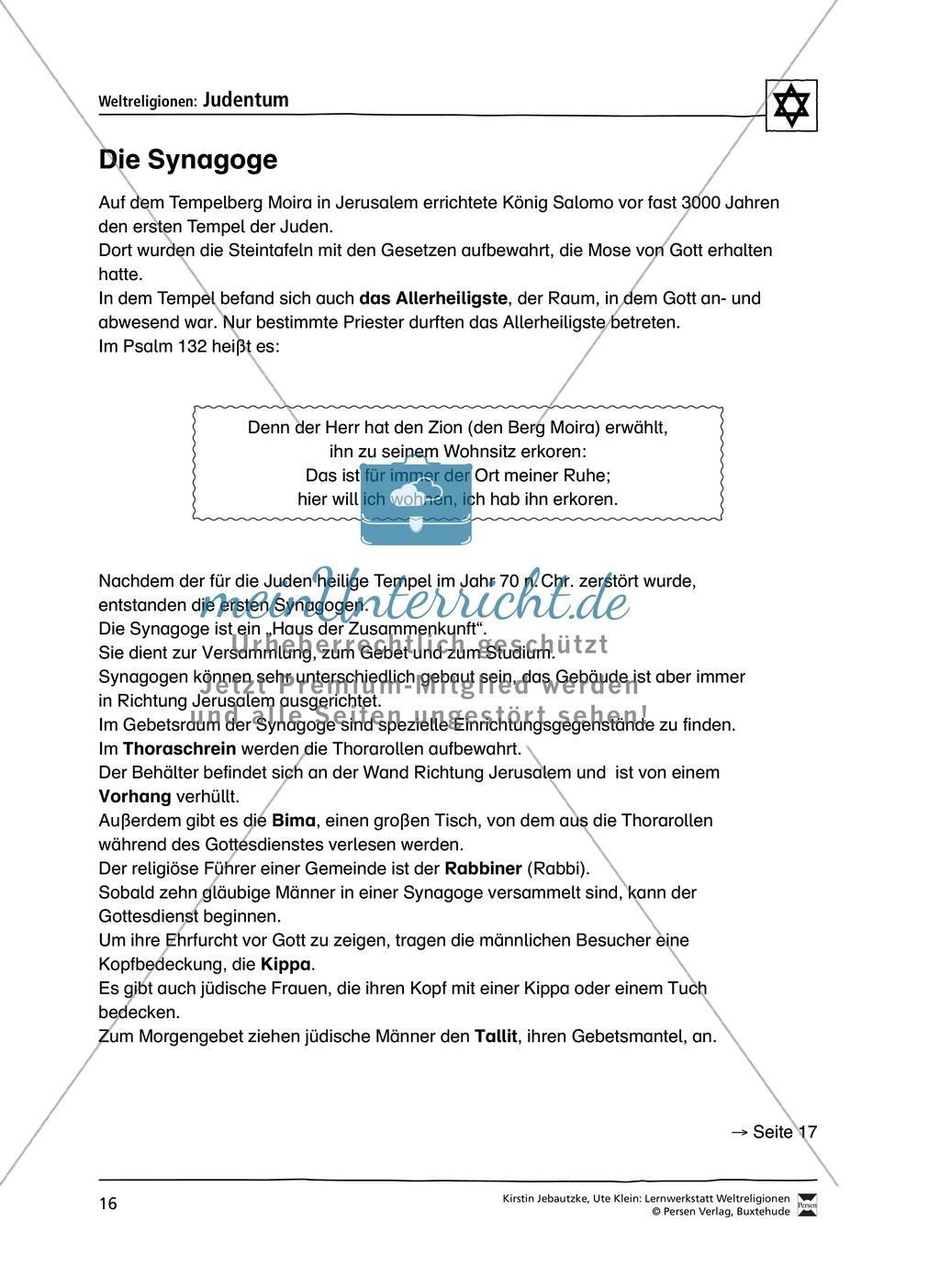 Unterrichtsmaterial zum Judentum - mit Infomaterial zu Gottheit, Schrift, Synagogen, Feiertagen uvm. Preview 8