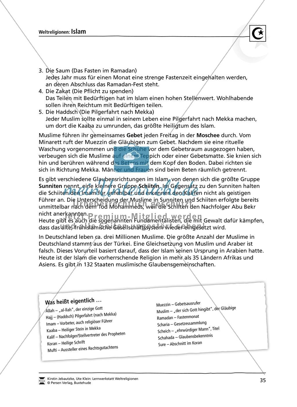 Unterrichtsmaterial zum Islam - mit Infomaterial zu Gottheit, Koran ...