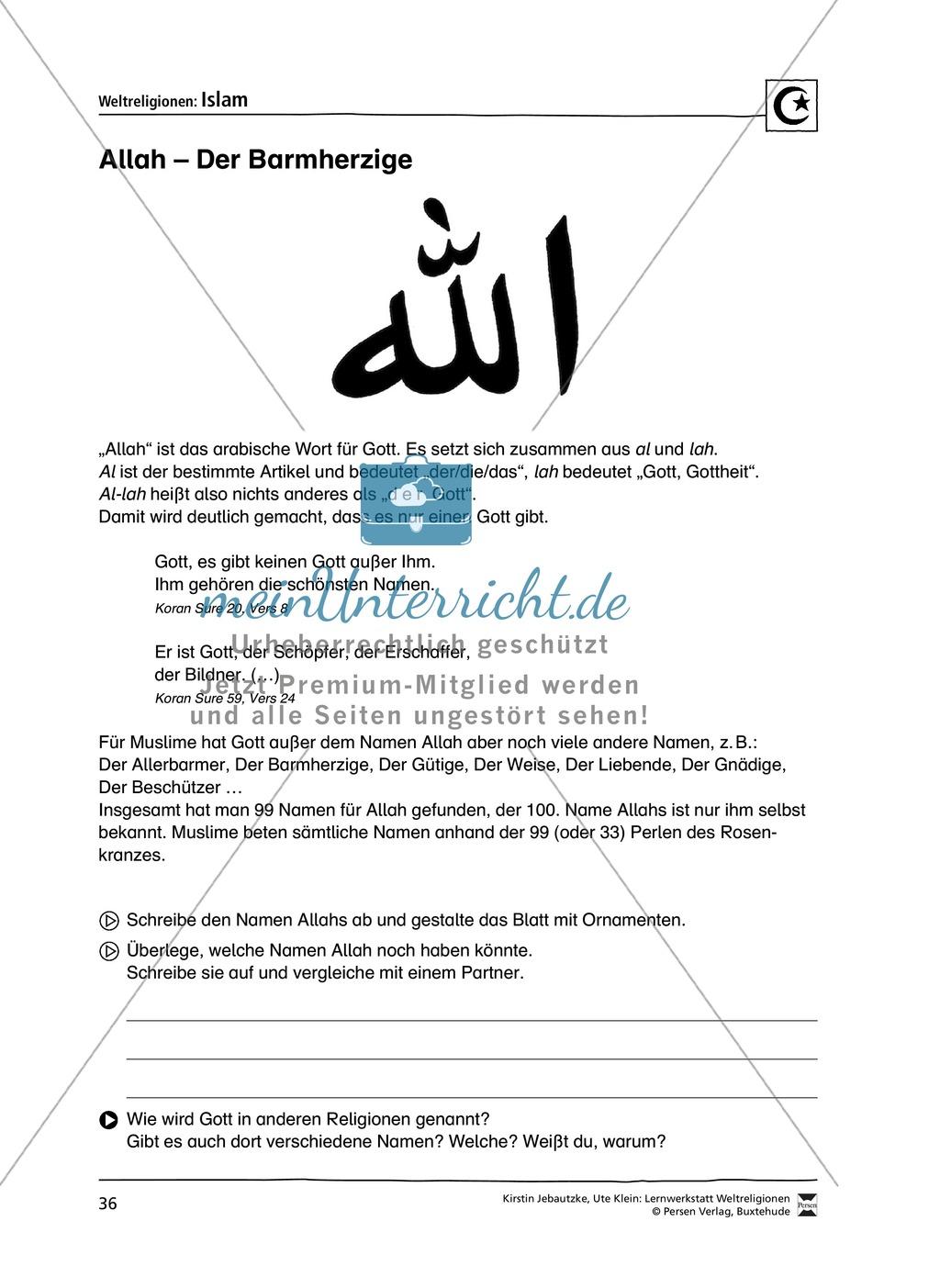 Unterrichtsmaterial zum Islam - mit Infomaterial zu Gottheit, Koran, Moscheen, Feiertagen uvm. Preview 2
