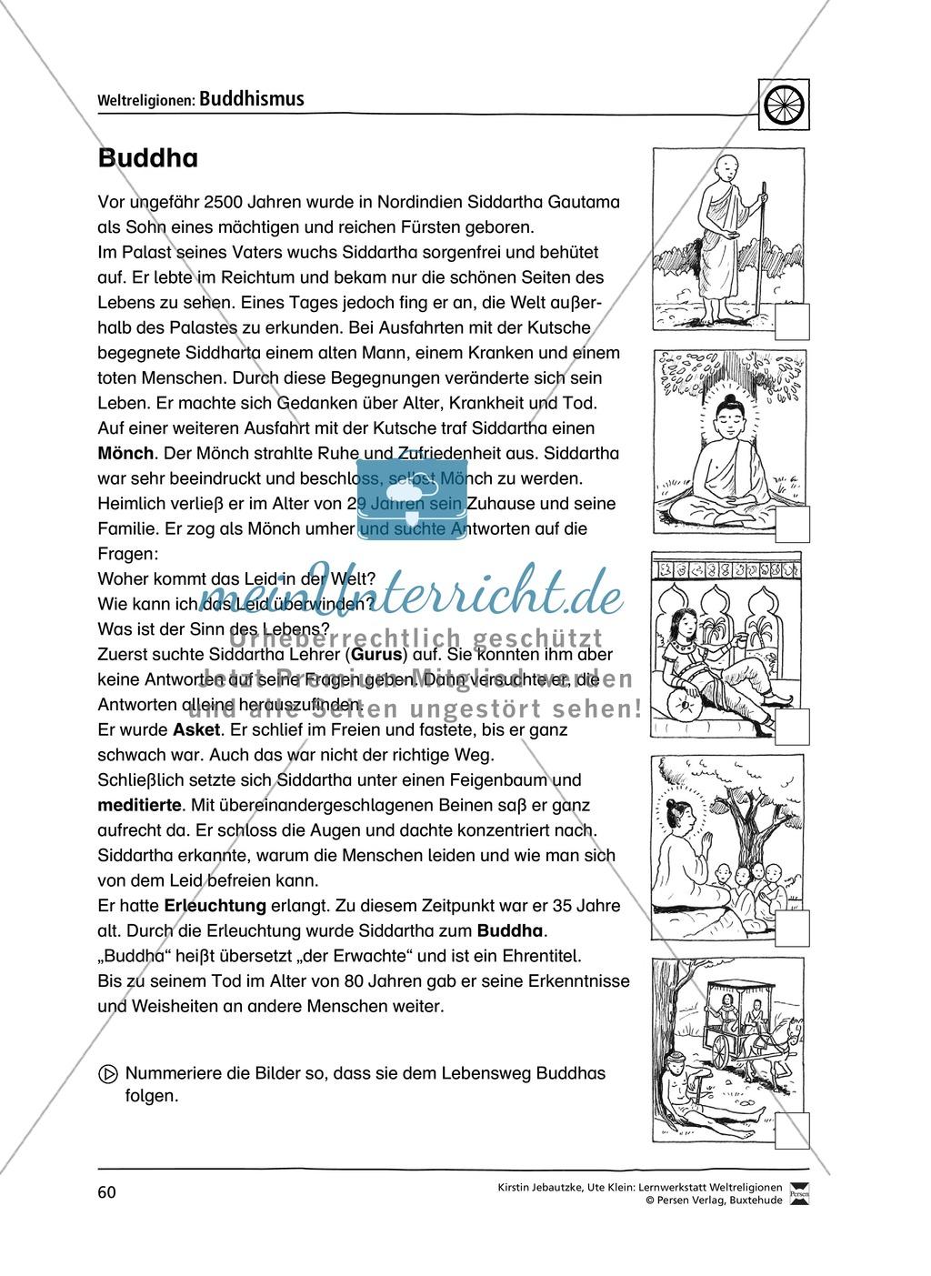 Unterrichtsmaterial zum Buddhismus - mit Infomaterial zu Buddha, Regeln, Stupas und Tempel, Feiertagen uvm. Preview 2