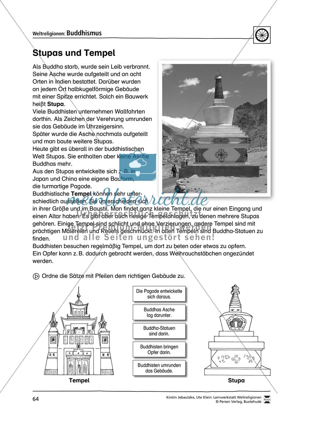 Unterrichtsmaterial zum Buddhismus - mit Infomaterial zu Buddha, Regeln, Stupas und Tempel, Feiertagen uvm. Preview 6