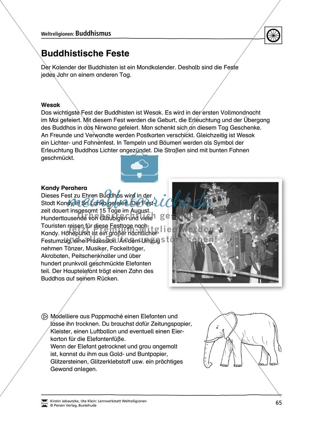 Unterrichtsmaterial zum Buddhismus - mit Infomaterial zu Buddha, Regeln, Stupas und Tempel, Feiertagen uvm. Preview 7