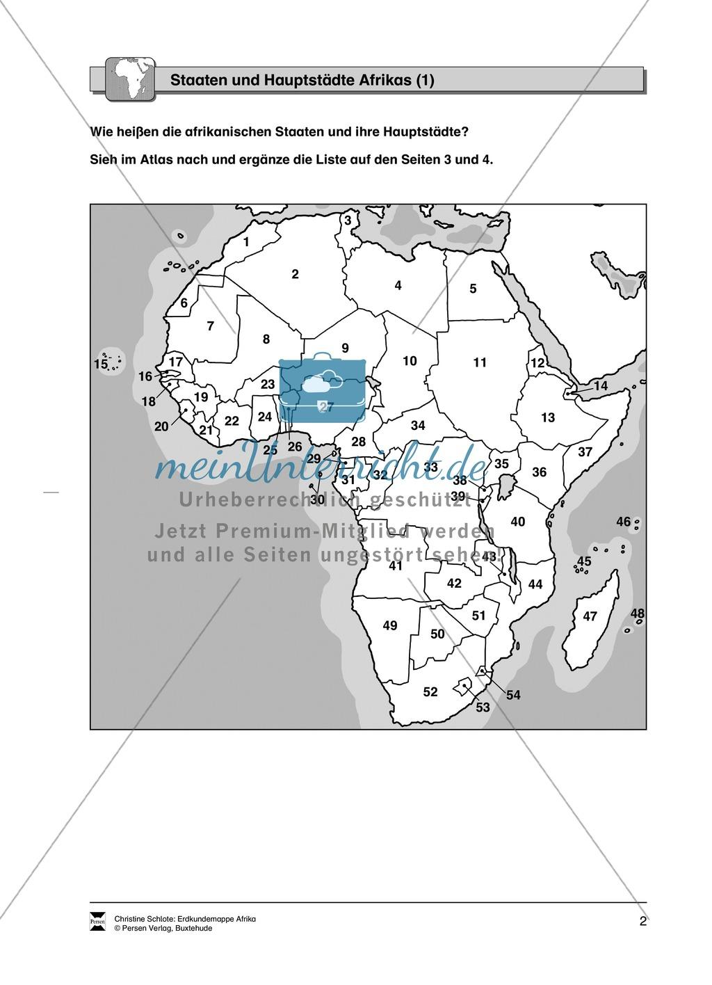 Kopiervorlage zu einer Übersicht über den Kontinent Afrika ...