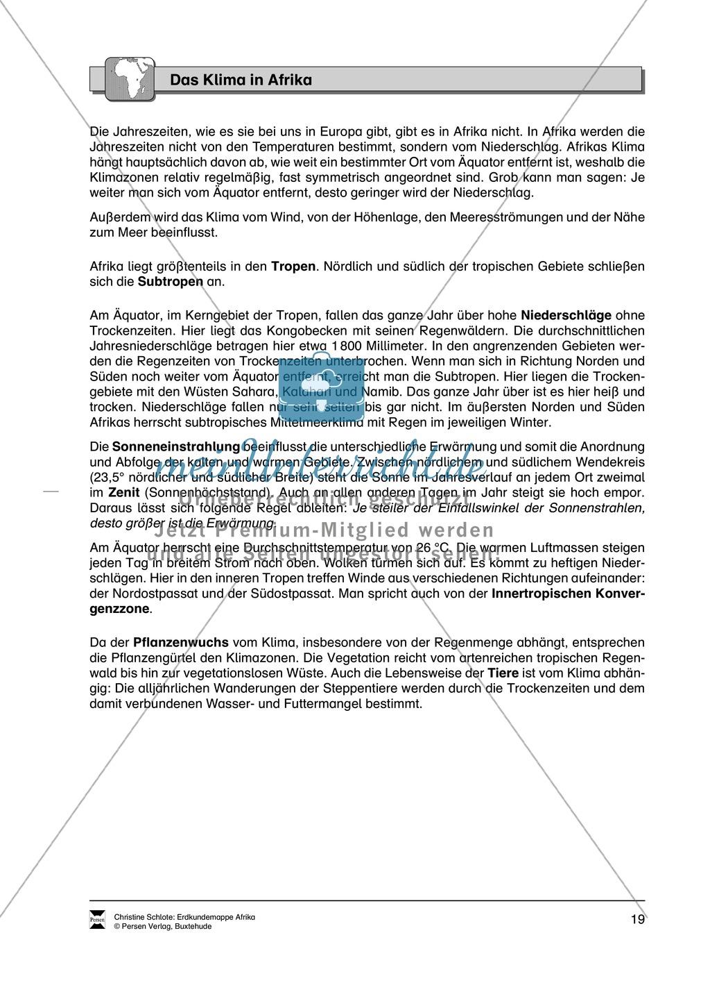 Kopiervorlage zum Klima des Kontinents Afrika: Lückentexte + ...