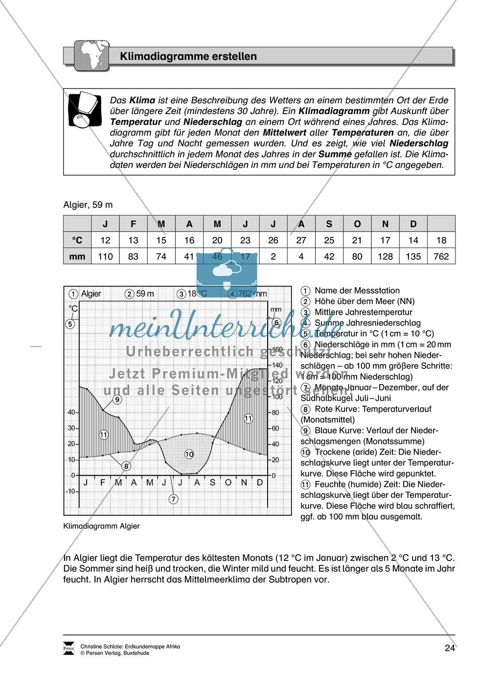 Kopiervorlage zum Klima des Kontinents Afrika: Lückentexte + Klimadiagramme + Karten Preview 5