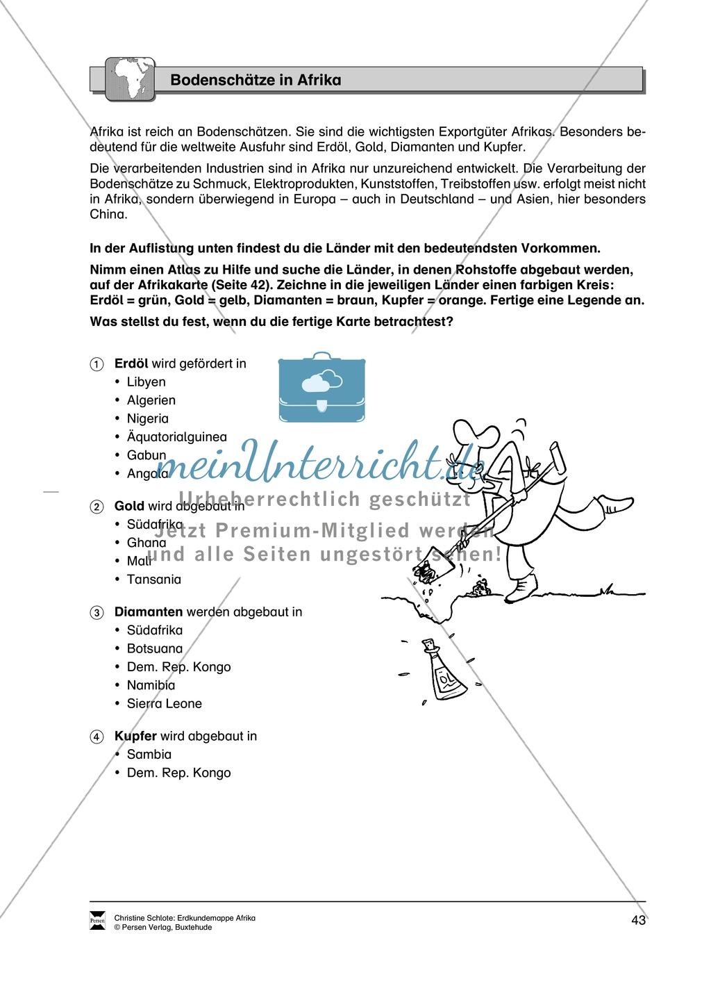 Kopiervorlagen zu Bodenschätzen und Industrie in Afrika: Rätsel + Atlantenarbeit Preview 0