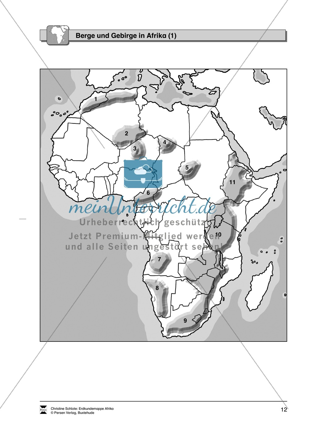Die Topographie Afrikas spielerisch kennen lernen:Längen- und Breitenkreise + Flüsse und Seen + Berge und GEbirge Preview 3