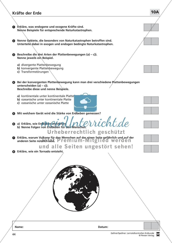 Lernerfolgskontrolle zu den Kräften der Erde: Tektonik + endogene ...
