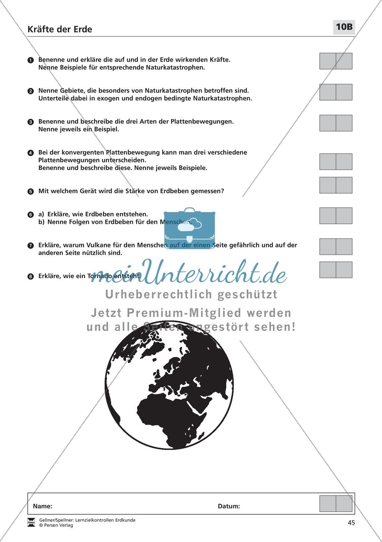 Lernerfolgskontrolle zu den Kräften der Erde: Tektonik + endogene und exogene Kräfte + Naturkatastrophen Preview 1