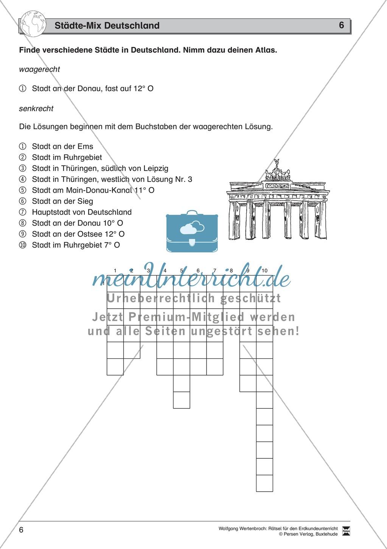 Rätsel zur Orientierung in Deutschland: Nachbarstaaten + Topographie Preview 1