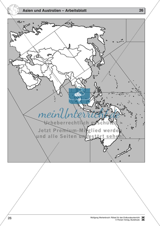 Rätselaufgaben zu Asien und Australien - mit Extra-Aufgaben zu Russland +  China + Japan + Indien Preview 1