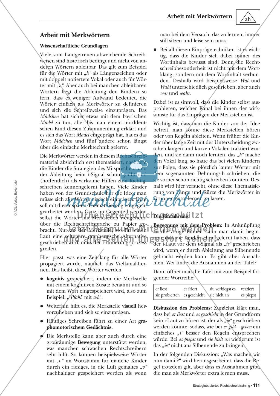 Abweichungen bei der Ableitung: Merkwörter in der stategiebasierten Rechtschreibübung: Informationstext für Lehrer mit Übungsaufgaben zum Thema Preview 0
