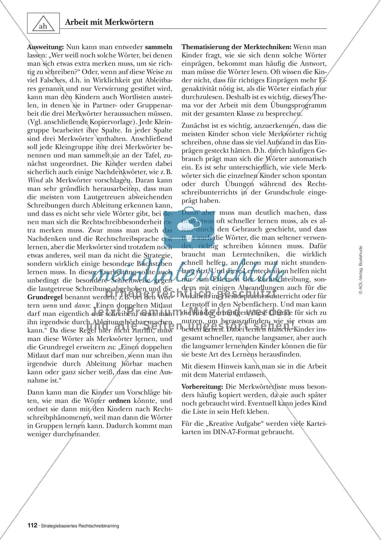 Abweichungen bei der Ableitung: Merkwörter in der stategiebasierten Rechtschreibübung: Informationstext für Lehrer mit Übungsaufgaben zum Thema Preview 1