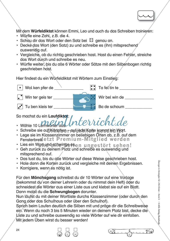 Freiburger Rechtschreibschule: Arbeitsblätter zum Würfeldiktat, Laufdiktat und Mönchsgang Preview 0
