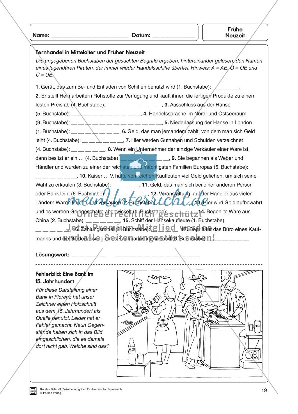 Lückenrätsel zum Fernhandel im Mittelalter und früher Neuzeit ...
