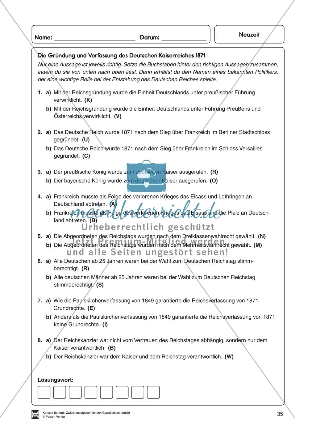 Multiple-Choice Rätsel zur Gründung und Verfassung des Deutschen Kaiserreichs 1871 Preview 0