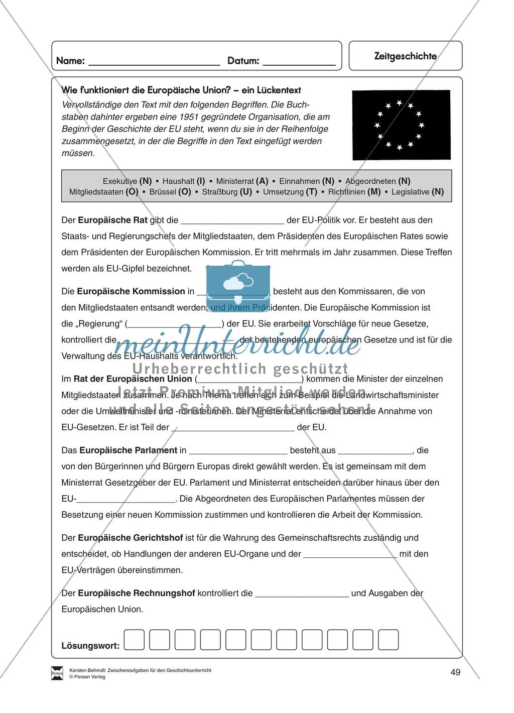 Lückentext zur Funktion der Europäischen Union Preview 0